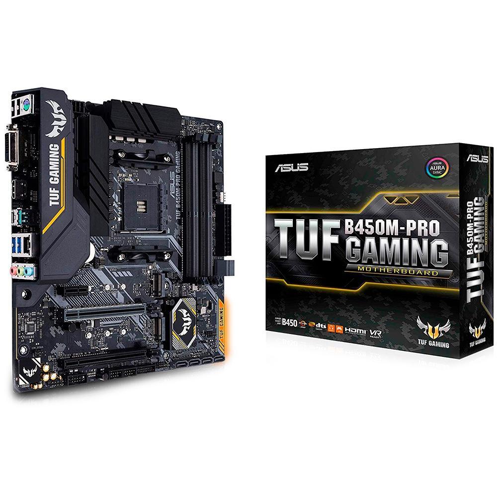 Placa-Mãe Asus TUF B450M-PRO Gaming AMD AM4 mATX DDR4