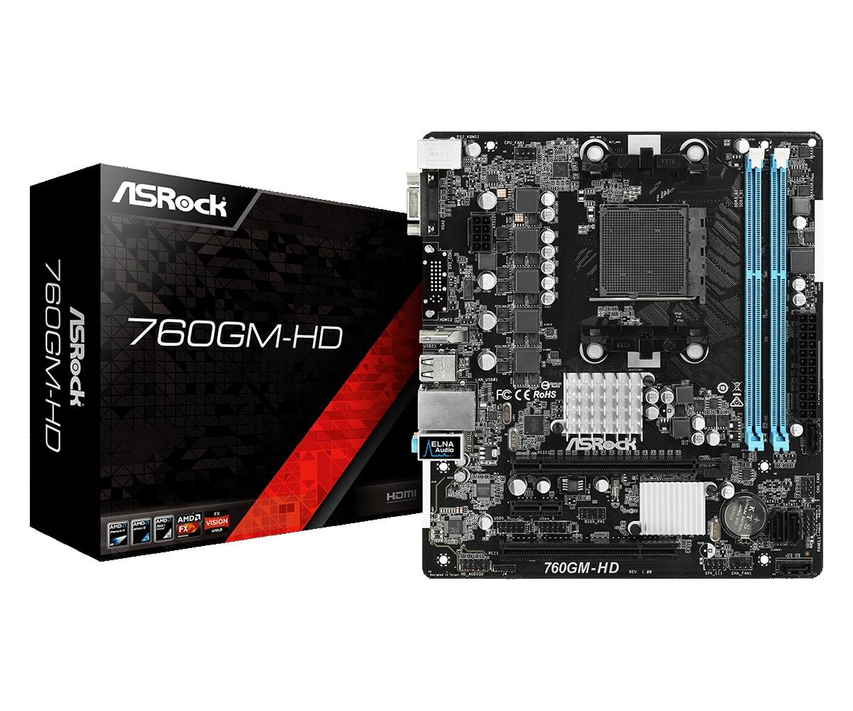Placa-Mãe ASRock 760GM-HD AMD AM3+ mATX DDR3