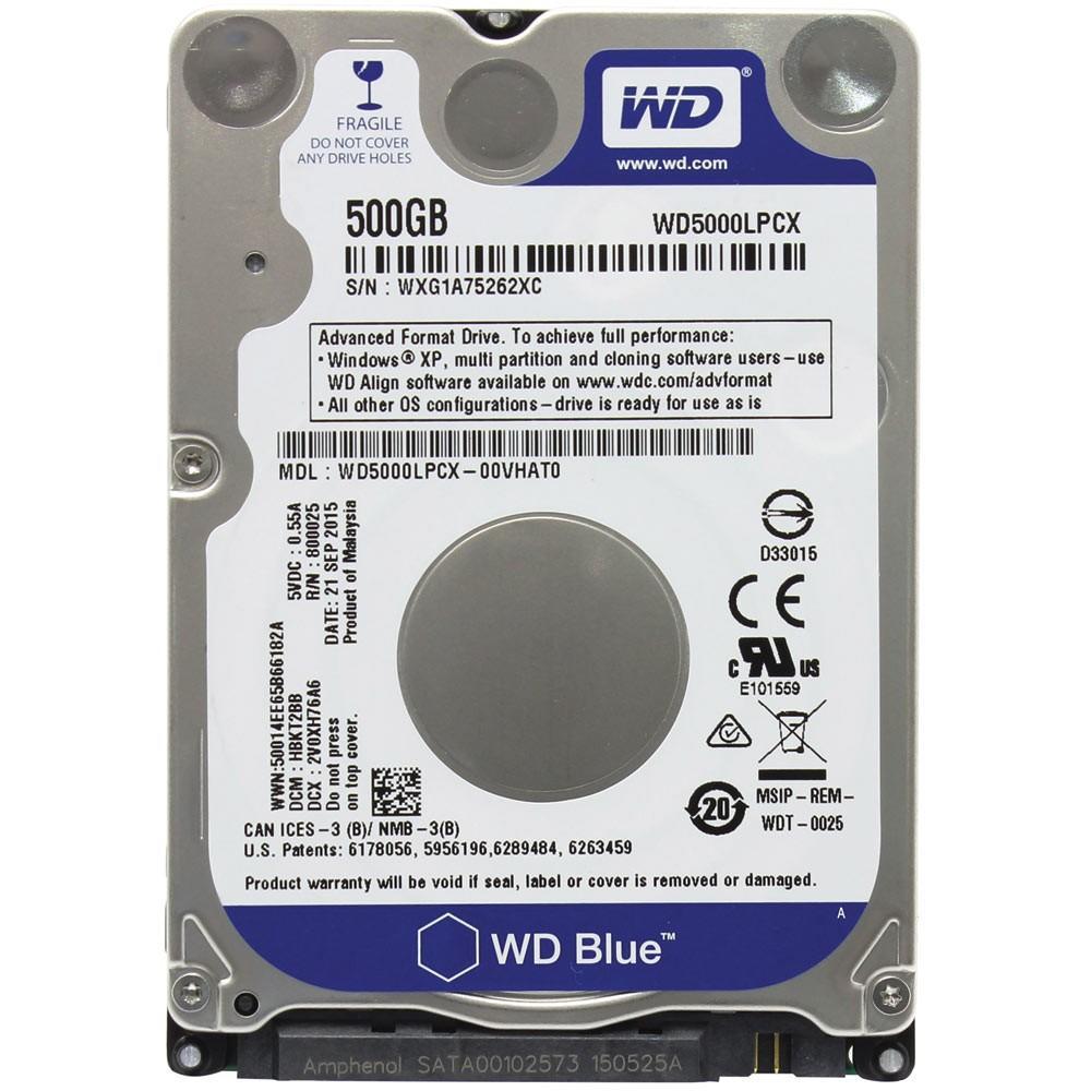 HD Notebook Western Digital 500GB WD5000LPCX SATA 2.5'