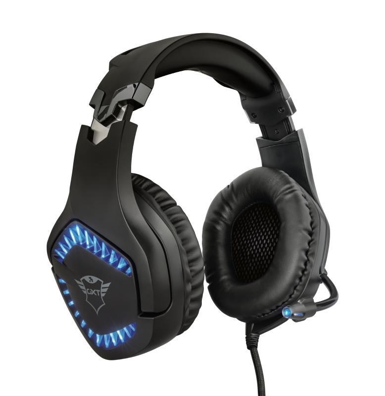 Headset Gamer Trust GXT 460 Varzz Iluminado Preto Led Azul