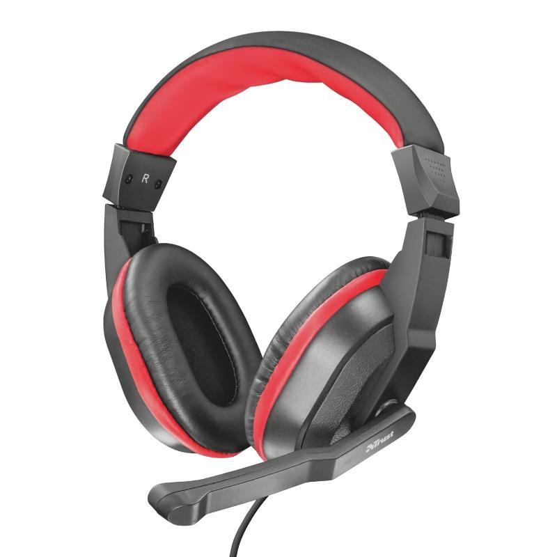 Headset Gamer Trust Ziva Preto e Vermelho