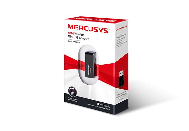 Mini Adaptador Wireless  Mercusys MW300UM USB N300