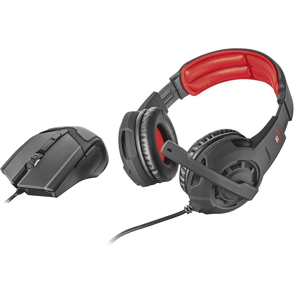 Kit Headset e Mouse Gamer Trust GXT 784 Preto e Vermelho